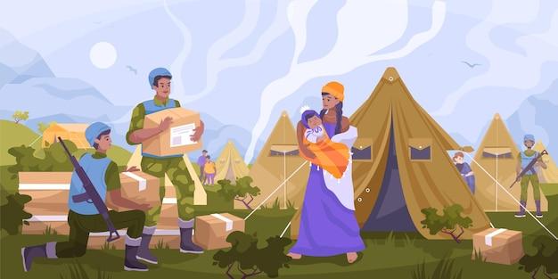 Płaska kompozycja pomocy humanitarnej sił pokojowych z wojskiem daje żywność i wodę uchodźcom na ilustracji miasta namiotowego