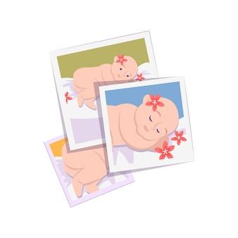 Płaska kompozycja procesu fotograficznego ze stosem kwadratowych fotografii dziecka