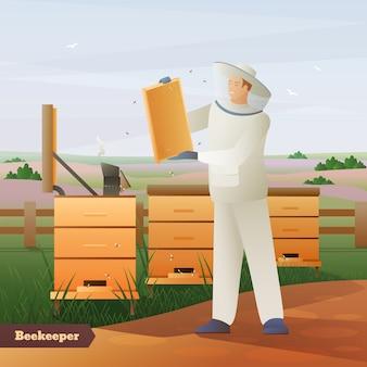 Płaska kompozycja pszczelarza