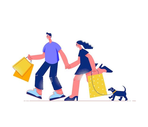 Płaska kompozycja rodzinnych zakupów z postaciami męskimi i żeńskimi z torbami na zakupy i psem