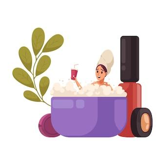 Płaska kompozycja spa z produktami kosmetycznymi i szczęśliwą kobietą relaksującą się w wannie