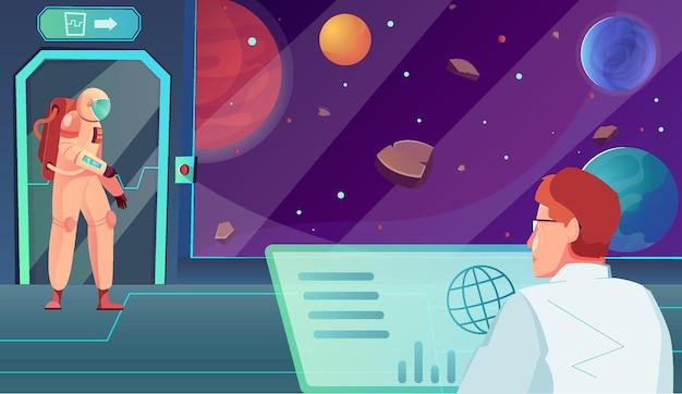 Płaska kompozycja stacji kosmicznej z wewnętrzną scenerią statku kosmicznego z astronautą w pobliżu drzwi i ilustracji kontrolera misji
