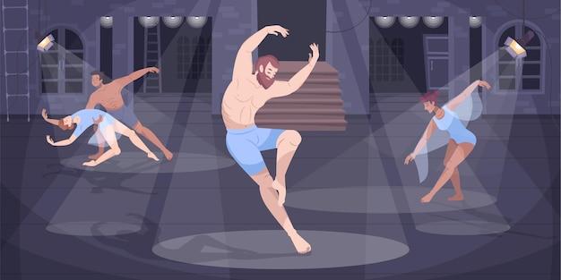 Płaska kompozycja tancerza baletowego ze średniowieczną sceną teatralną i postaciami doodle tańczącymi w jasnych plamach ilustracji