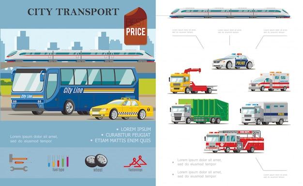 Płaska kompozycja transportu miejskiego z taksówkami autobusowymi, samochodami pogotowia ratunkowego, holującymi ogień i śmieciarki