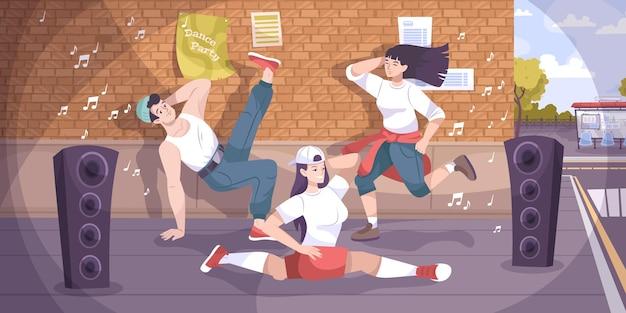 Płaska kompozycja ulicy tancerza ze scenerią zaułka i grupą młodych tancerzy breakbeatu z ilustracją wysokich głośników