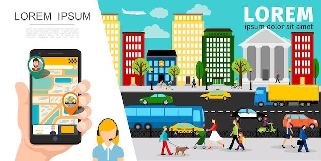 Płaska kompozycja usług taksówkarskich z aplikacją do zamówienia taksówki operatora mobilnego, ludzie pojazdy poruszające się po drogach na ilustracji miasta