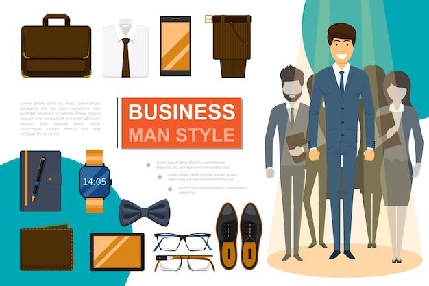 Płaska kompozycja w stylu biznesmena z ludźmi biznesu teczka koszula muszka spodnie telefon tablet notatnik zegarek na rękę portfel buty okulary ilustracja,