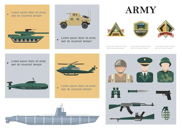 Płaska kompozycja wojskowa z czołgiem samochód pancerny helikopter okręt podwodny okręt wojenny żołnierze broni lornetki i emblematy armii