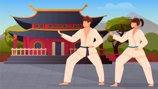 Płaska kompozycja wschodnich sztuk walki z postaciami sportowców płci męskiej i żeńskiej w kimonie