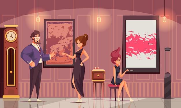 Płaska kompozycja wyższego społeczeństwa z bogatym mężczyzną zademonstrowała swoją kolekcję sztuki młodym kobietom w sukniach wieczorowych