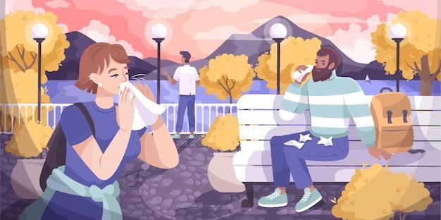 Płaska kompozycja z katarem z jesiennym parkowym krajobrazem na świeżym powietrzu i ludźmi dmuchającymi w nosy ilustracjami chusteczek
