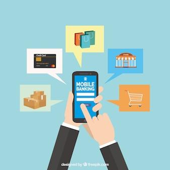 Płaska kompozycja z płatnościami i smartfonem