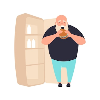 Płaska kompozycja z postacią grubasa jedzącego burgera obok ilustracji lodówki