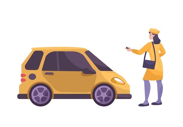 Płaska kompozycja z postacią kobiety kierowcy zamykającej ilustrację samochodu