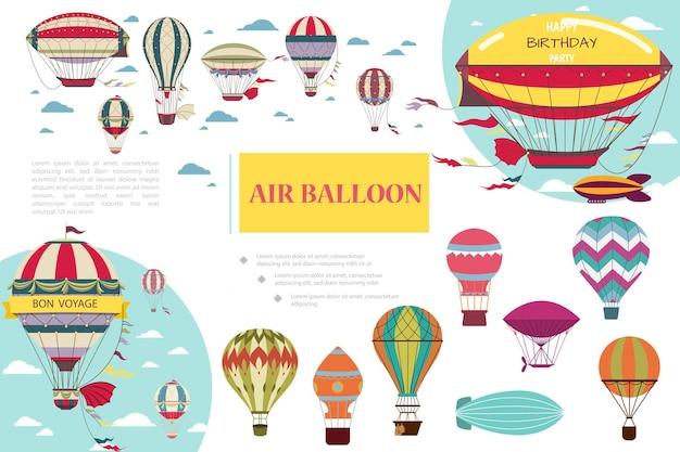 Płaska kompozycja ze sterowcami sterowcami i balonami powietrznymi o różnych kolorach i wzorach ilustracji