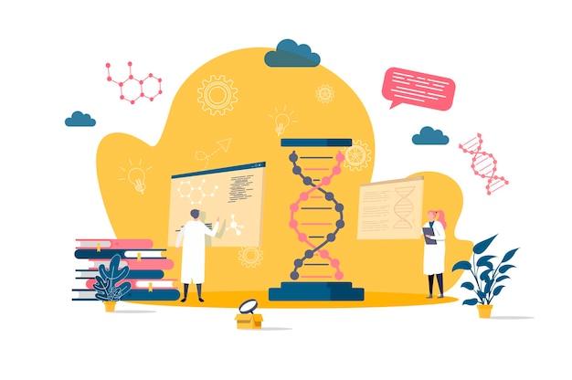 Płaska koncepcja biotechnologii z ilustracjami postaci ludzi