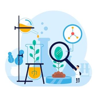 Płaska koncepcja biotechnologii z kolbą