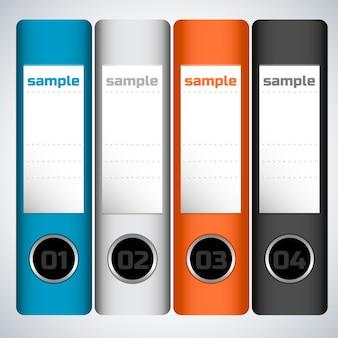 Płaska koncepcja biznesowa z kolorowymi numerowanymi folderami z próbką