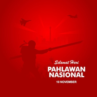 Płaska koncepcja dnia bohaterów pahlawan