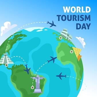 Płaska koncepcja dzień turystyki