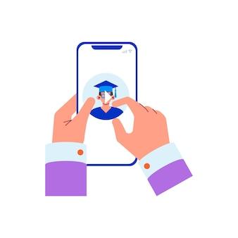 Płaska koncepcja edukacji online z ludzkimi rękami, naciskając przycisk odtwarzania na wideo