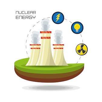 Płaska koncepcja elektrownia jądrowa energia generatora