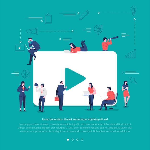 Płaska koncepcja grupa narodów współpracuje, budując odtwarzanie wideo symbol sieci społecznej