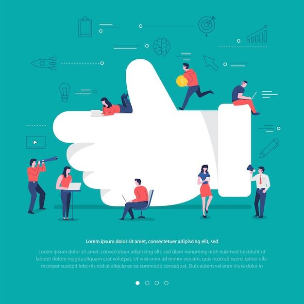 Płaska koncepcja grupa narodów współpracuje, budując symbol sieci społecznej, taki jak przycisk