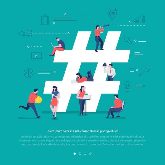 Płaska koncepcja grupa narodów współpracuje przy tworzeniu hashtagu z symbolem sieci społecznościowej