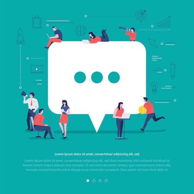 Płaska koncepcja grupa narodów współpracuje przy tworzeniu komentarza symbolu sieci społecznej