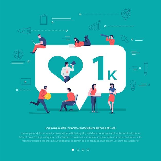 Płaska koncepcja grupa narodów współpracuje przy tworzeniu powiadomienia o symbolu sieci społecznościowej