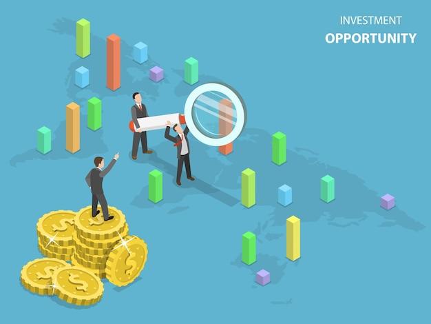 Płaska koncepcja izometryczna okazji inwestycyjnej