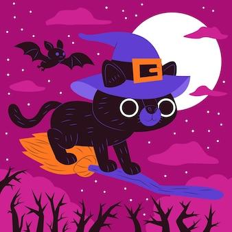 Płaska koncepcja kota halloween
