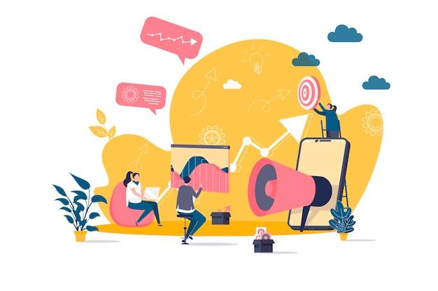 Płaska koncepcja marketingu cyfrowego z ilustracjami postaci ludzi