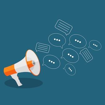 Płaska koncepcja mediów społecznościowych z megafonem i bublesami mowy messa