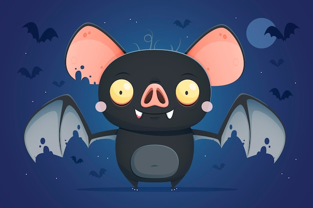 Płaska koncepcja nietoperza halloween