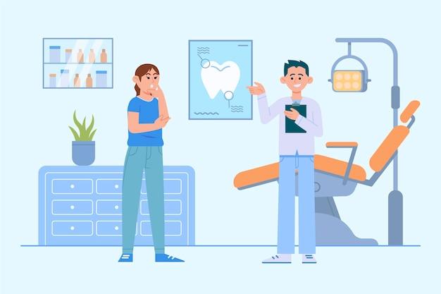 Płaska Koncepcja Opieki Stomatologicznej Premium Wektorów
