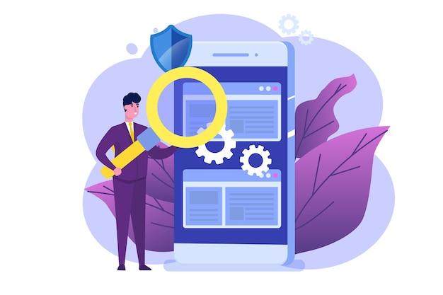 Płaska koncepcja oprogramowania lub aplikacji. debugowanie procesu rozwoju.