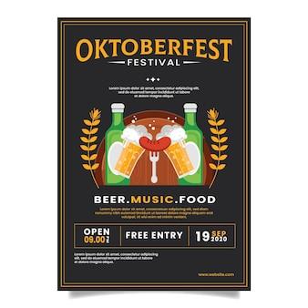 Płaska koncepcja plakatu oktoberfest