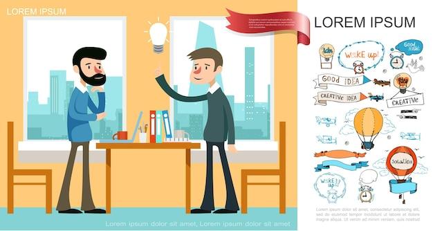 Płaska koncepcja pomysłu na biznes z pracownikami ma oryginalny pomysł w biurze i szkicuje balony na gorące powietrze, banery, budzik, żarówka, samoloty, napisy, ilustracja,