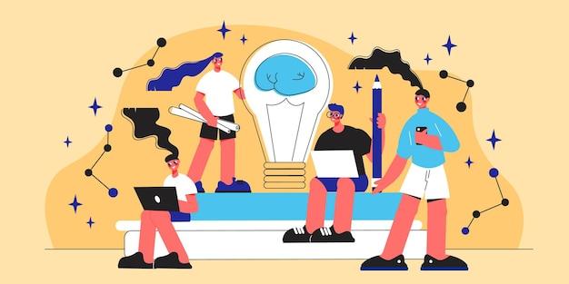Płaska koncepcja pracy zespołowej z czterema uśmiechniętymi ludzkimi postaciami i ilustracją żarówki