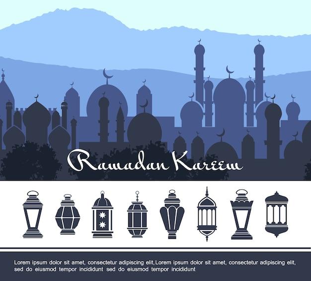 Płaska koncepcja ramadan kareem
