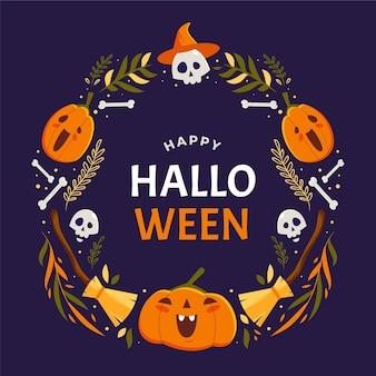 Płaska koncepcja ramki halloween