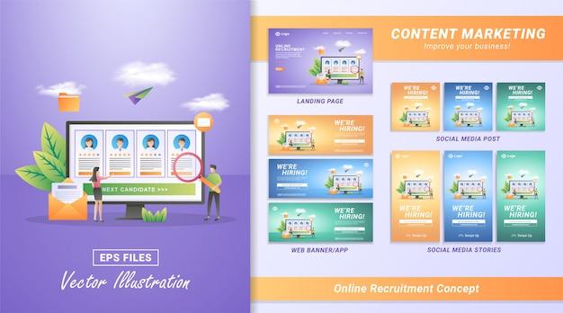 Płaska koncepcja rekrutacji online. przedsiębiorcy i kobiety otwierają rekrutację, znajdują i wybierają kandydatów, którzy spełniają kryteria.