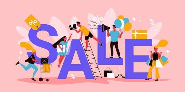 Płaska koncepcja sprzedaży końcowej z tekstowymi ludzkimi postaciami z zakupami i tagami rabatowymi