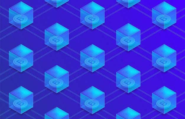 Płaska koncepcja technologii blockchain i kryptowaluty