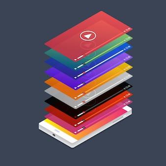 Płaska koncepcja vloga. aplikacja mobilna odtwarza platformę wideo i kanału ruchu