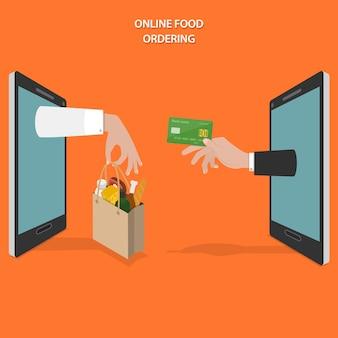 Płaska koncepcja zamawiania żywności online.