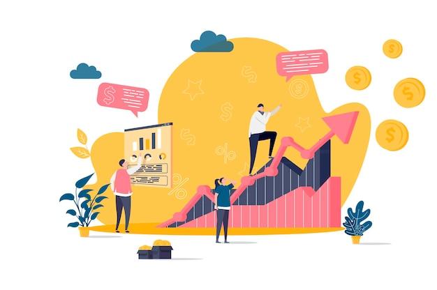 Płaska koncepcja zarządzania sprzedażą z ilustracjami postaci ludzi