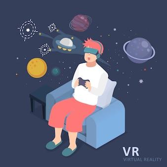 Płaska konstrukcja 3d izometryczny doświadczenie wirtualnej rzeczywistości wszechświata